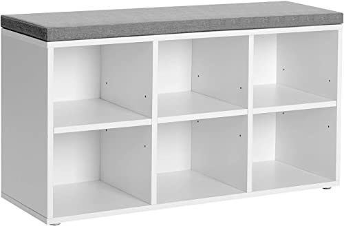 VASAGLE Shoe Bench, Shoe Storage Organizer with 6 Compartments and 3 Adjustable Shelves, Cushioned Seat, Compact and Narrow, for Entryway, Hallway, Closet, White ULHS23WT