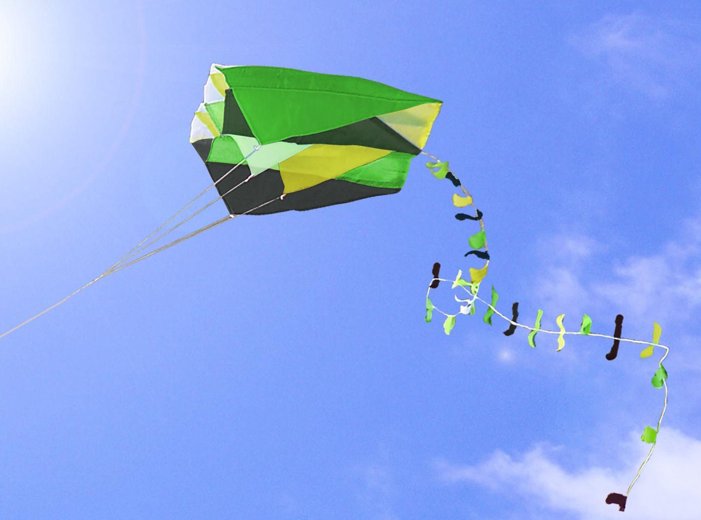 Single Line Parafoil Pocket Kite + Colourful Long Tail in Pouch Easy Outdoor Fun by i.LifeUK i.Life.UK
