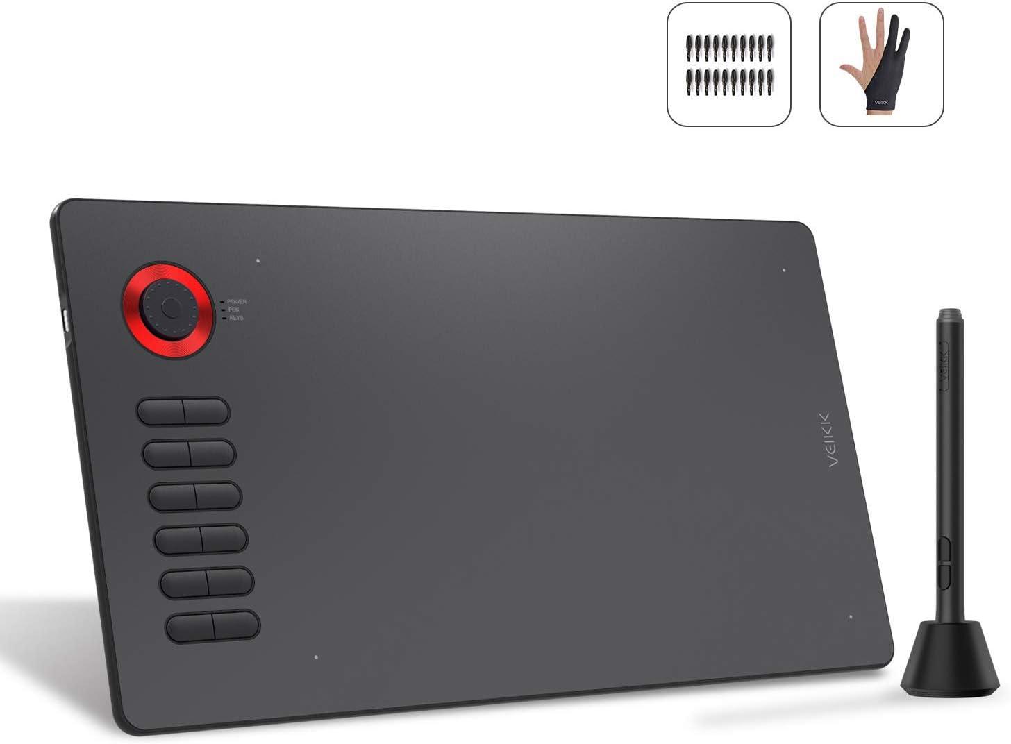 VEIKK ペンタブレット ショートカット&ホイール 傾き検知 充電不要ペン 8192レベル 初心者 多彩なデザイン A15pro (red)