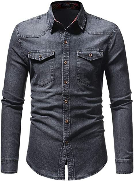 CHENS Camisa/Casual/Unisex/L Primavera para Hombre Lavado Camisas de Demin Manga Larga Slim Fit Jean Camisas para Hombres Camisetas de Vaquero Tops Clásico Casual Hombre Prendas de Vestir Exteriores: Amazon.es: Deportes y aire