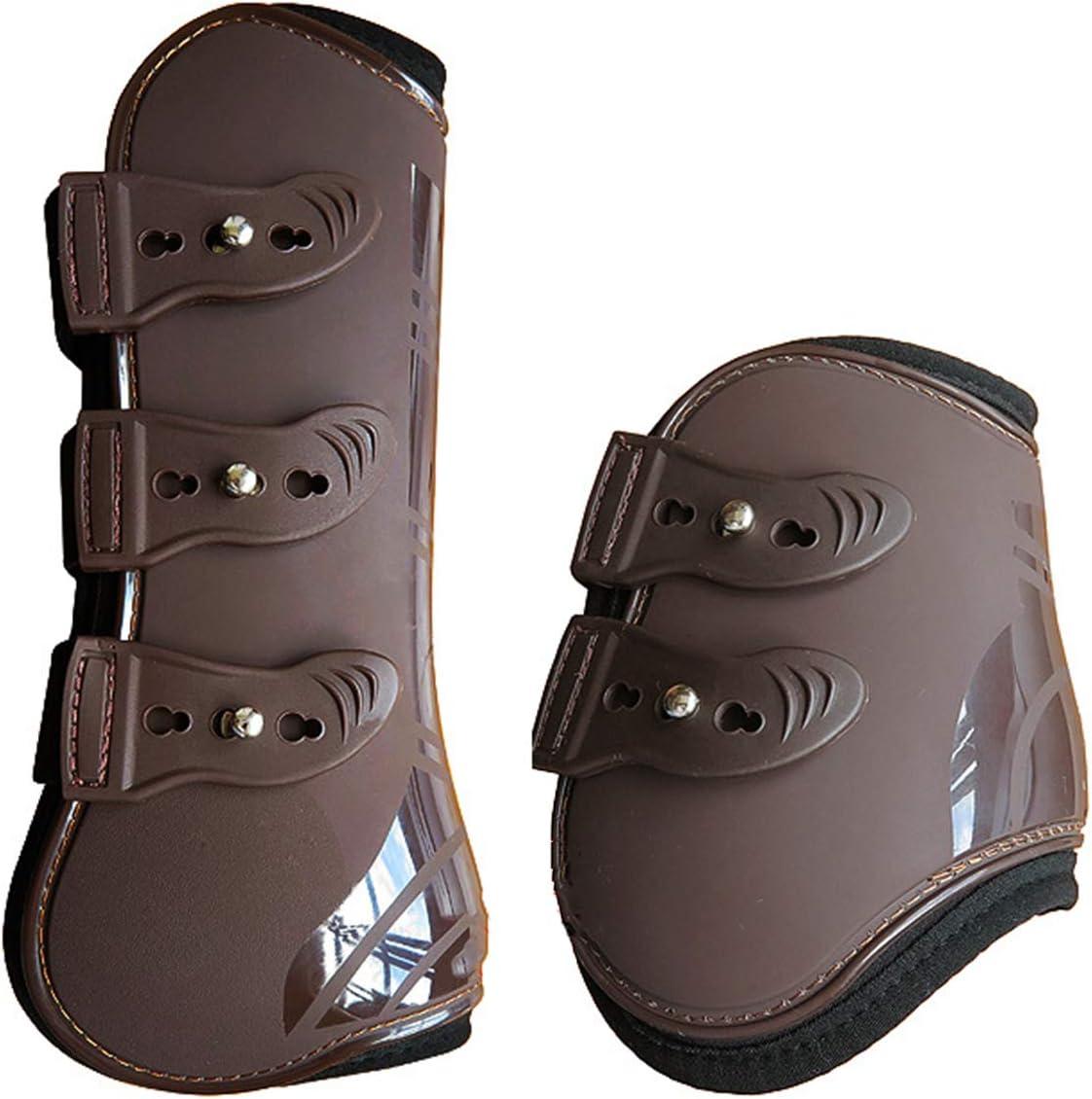 Rehomy Botas de Pierna Trasera Delantera de Caballo Protector de Guardia de Pierna de Caballo Ajustable para Protección de Tendón Ecuestre 4 Unids/Lote
