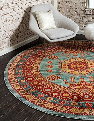Unique Blue Border (Unique Loom Serapi Collection Light Blue 8 ft Round Area Rug (8' x 8'))