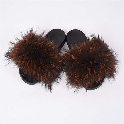 b7ce17428 F Women's Slipper Raccoon Fashion Style Furry Slides Soft Warm Fur Shoes  Coffee Orange