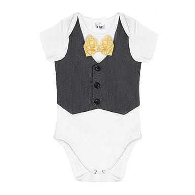 88d1e81acb66 iiniim Newborn Baby Boy Gentleman Wedding Suit Bow Tie Romper ...