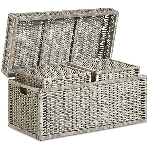 Set Storage Trunks Of 3 Woven Wicker Chest End The Bed
