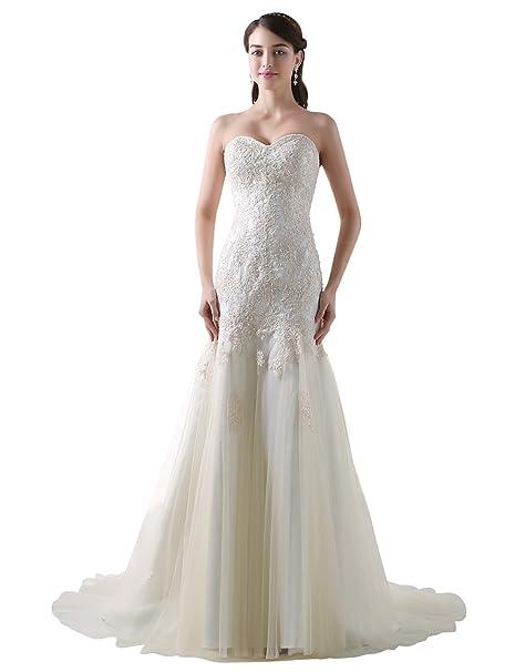 fc7c811b78ff Adasbridal Elegante Tulle Scollo a Cuore Stretto Abito da Sposa con Pizzo e  Perline  Amazon.it  Abbigliamento