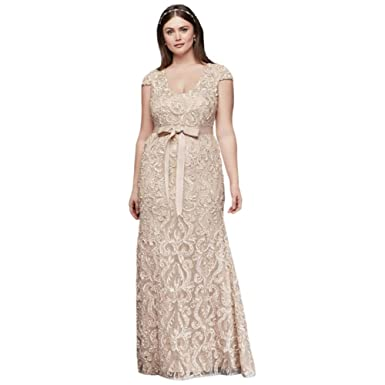 Cap Sleeve Soutache Lace Plus Size Dress With Sash Style A18704w