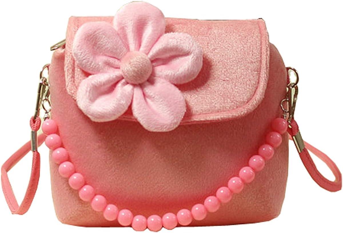 Toddlers Dress Up Plush Flower Handbag Small Purse for Little Kids Girls Cute Princess Coin Purse