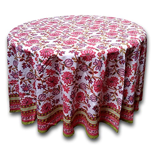India Arts Handmade 100% Cotton Floral Tablecloth 90