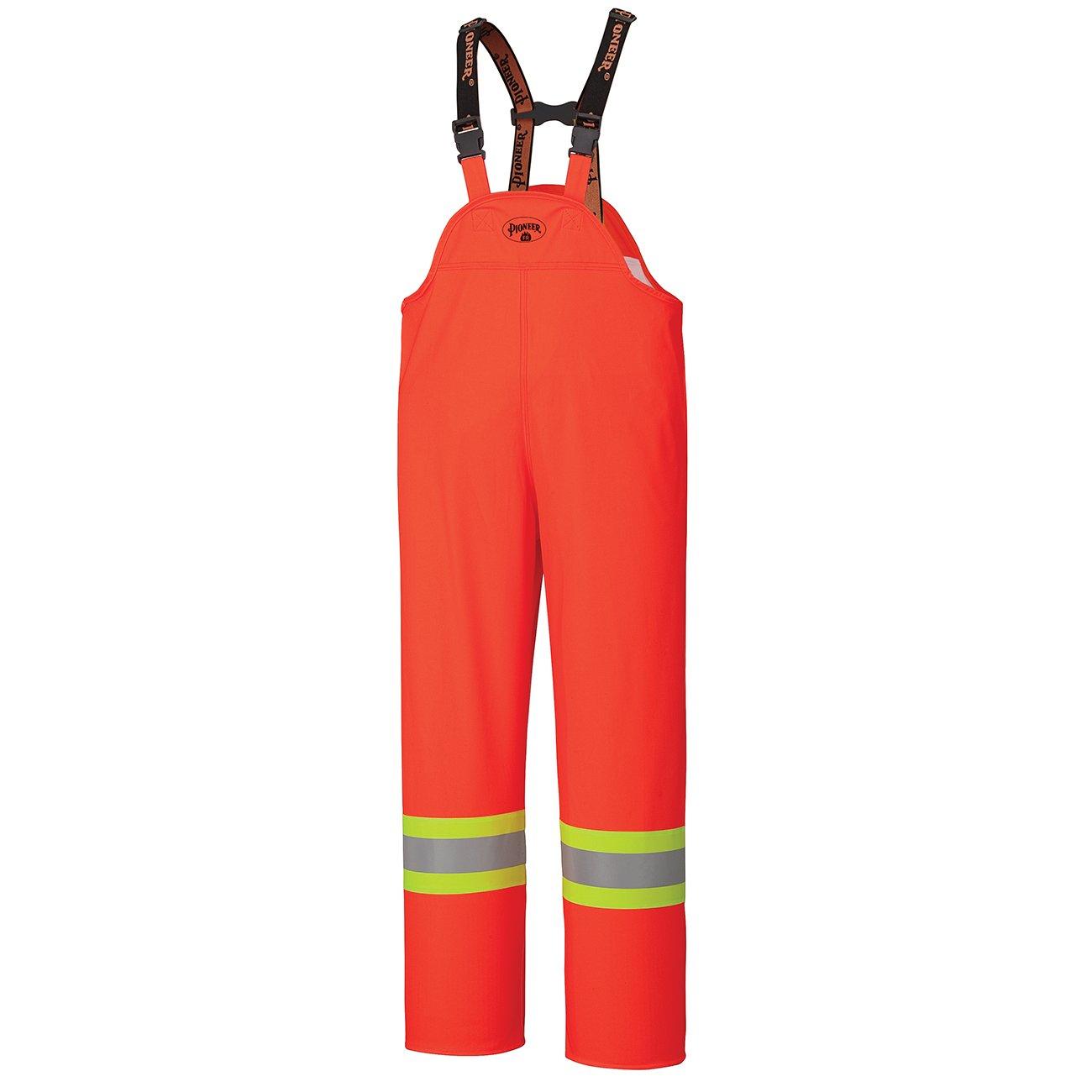 Pioneer V3520250-L FR Oil & Chemical Resistant Rain Bib Pant - Hi-Vis Lightweight, Orange, L