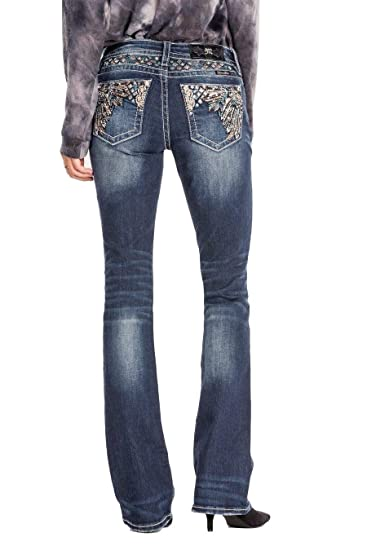 99e36b4978d Amazon.com  Miss Me Sequined Feathers Dark Wash Wash Mid-Rise Boot Cut  Women s Jeans w Extended Sizes M3246B  Clothing