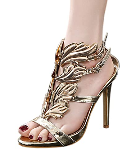 f4727347d0c Harshiono Pu Leather Wing Womens Strappy Stiletto High Heels Sandals Shoes  (US 8.5   EU
