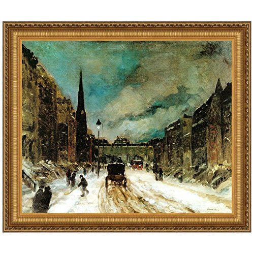 Design Toscano Street Scene with Snow, 1902 Canvas Replica Painting: Large by Design Toscano