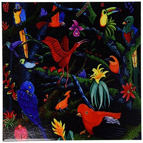 3dRose ct_3215_4 Rainforest Birds Ceramic Tile, 12-Inch