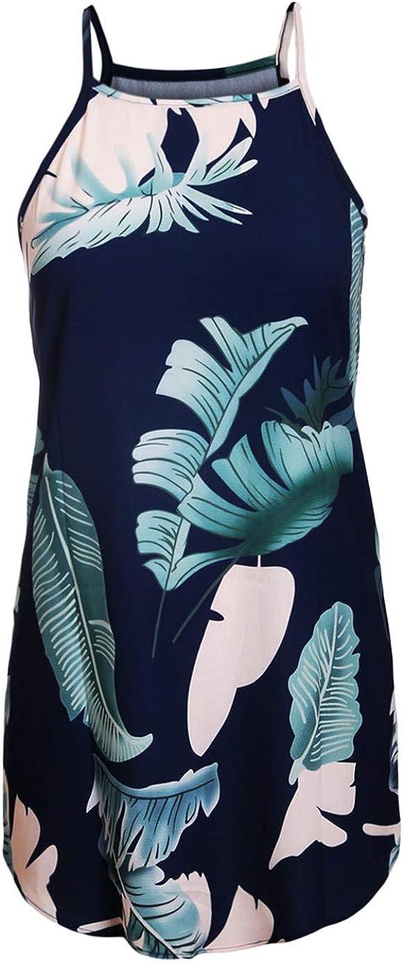 Ocean Plus Damen B/öhmen Minikleid mit Spaghetti-Tr/äger Locker Rundhalsausschnitt Charmant /Ärmelloses V-Ausschnitt Sommer Kleid Nachtkleid Strandkleid A-Linie Swing Kleid