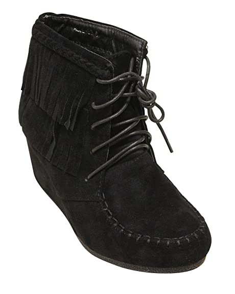 787846dba1642 TOP Moda Aloe-33 Women's Moccasin lace up Fringe Wedge Suede Ankle Boots  Black 5.5