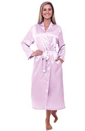 e24bab3cd5a0b Alexander Del Rossa Womens Solid Color Satin Robe