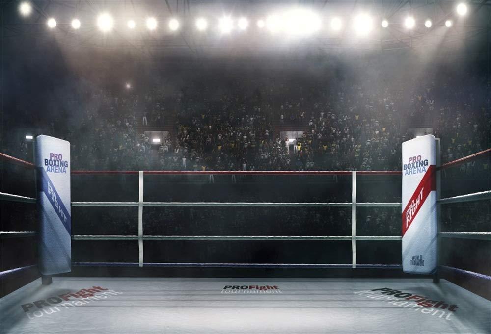 LFEEY 5x3フィート ライティング 3D ボクシングアリーナ 写真 バックドロップ スポーツ 競技場 応援 オーディエンス プロフェッショナル ボクシング マッチリング 写真 背景 男の子 男性 スポーツマン 写真スタジオ小道具   B07GDC4XXD