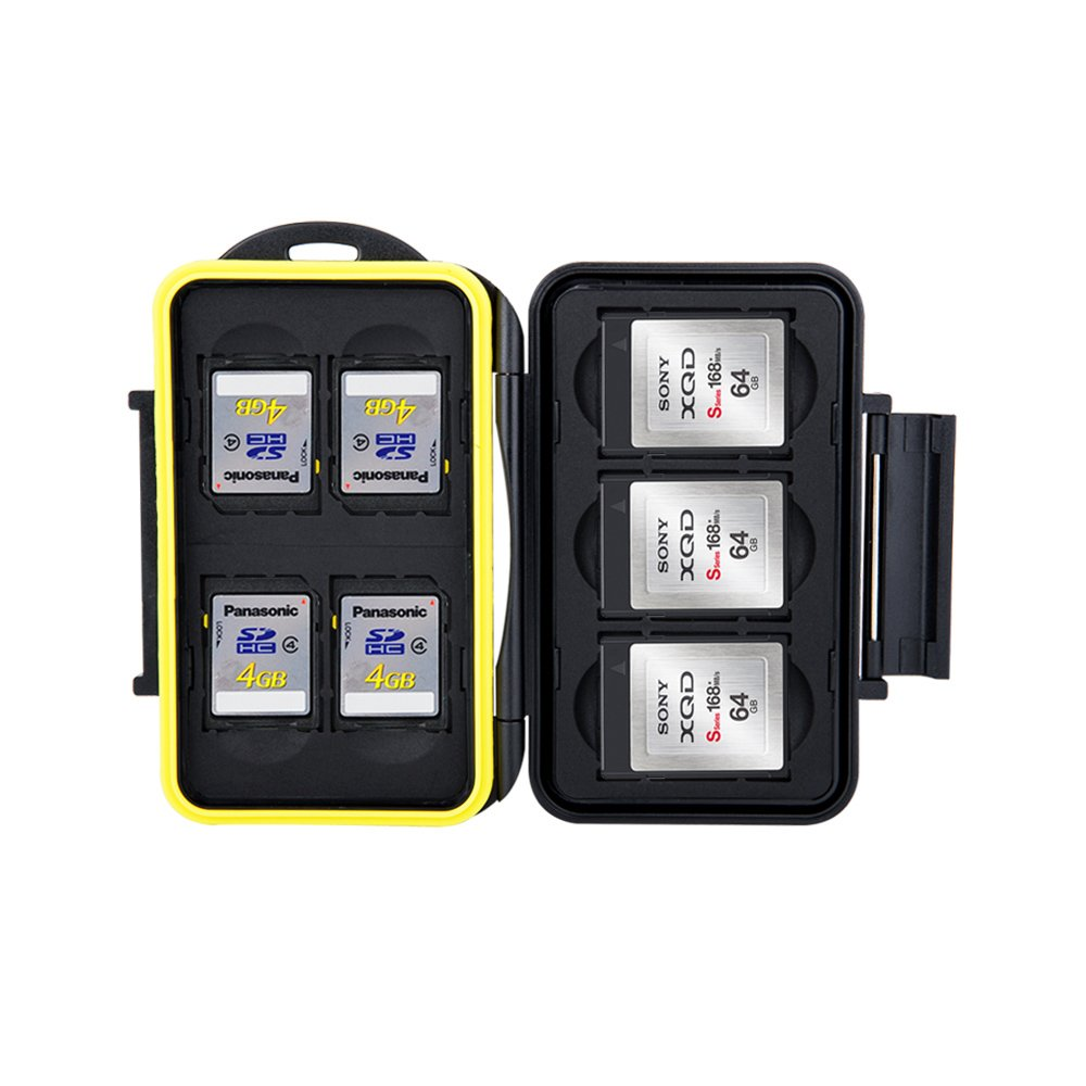 JJC Deluxe XQD Card Case Holder SD Card Case Holder for Storage and Protection of 3 XQD Card and 4 SD Card,Water-Resistant and Shockproof