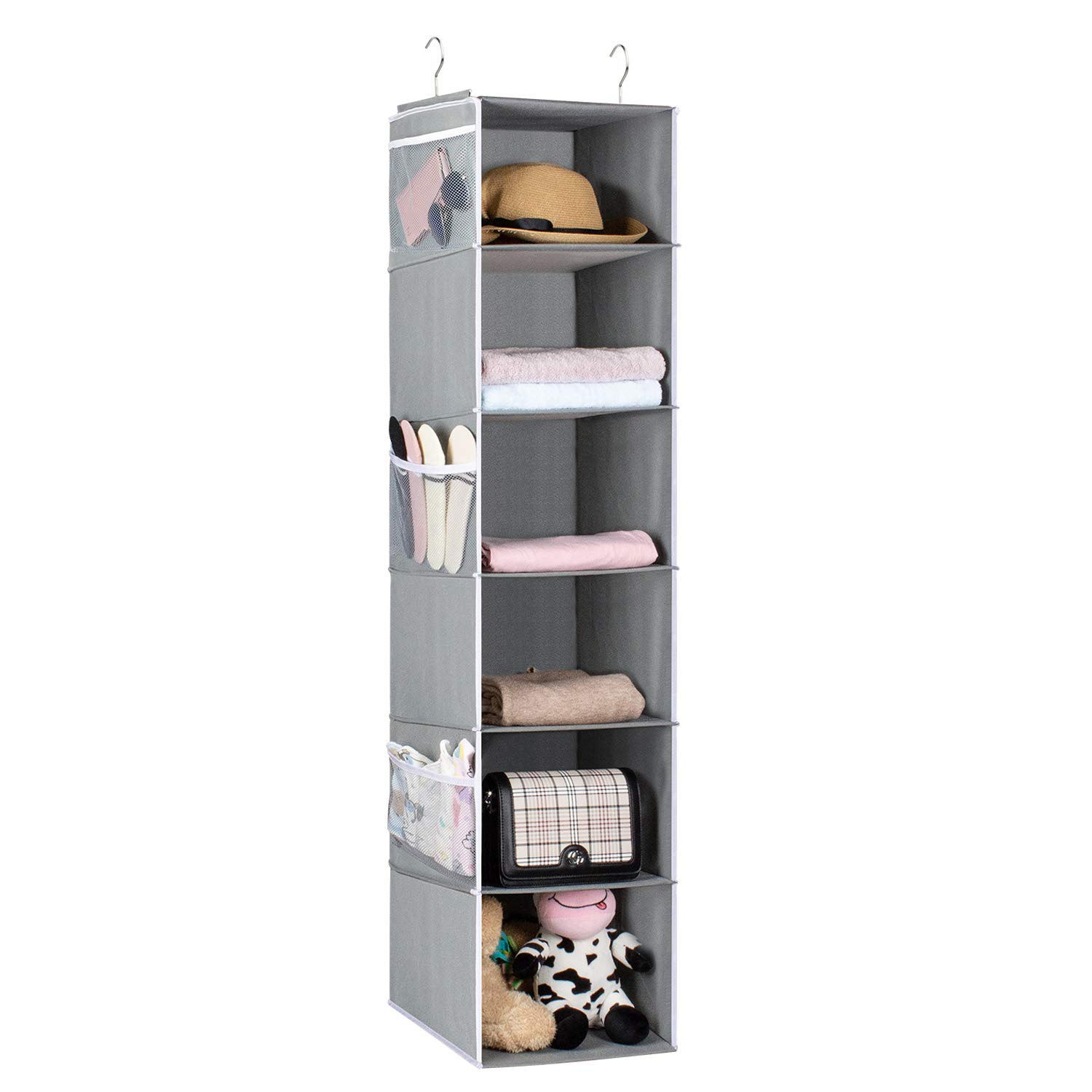Univivi Hanging Shelf Wardrobe Organiser,6 Tiers Hanging Closet Organizers and Storage with 6 Side Mesh Pockets,Foldable, Gray