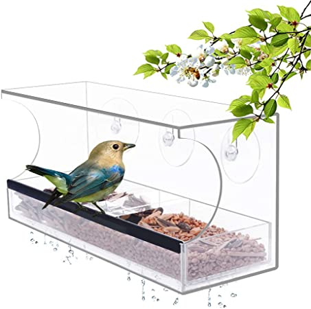 Uratot Clear Large Acrylic Hanging Window Bird Feeder With 4 Strong Extra Suction Cups And Seed Tray For Decorate Your House Garden Outdoors Feeders