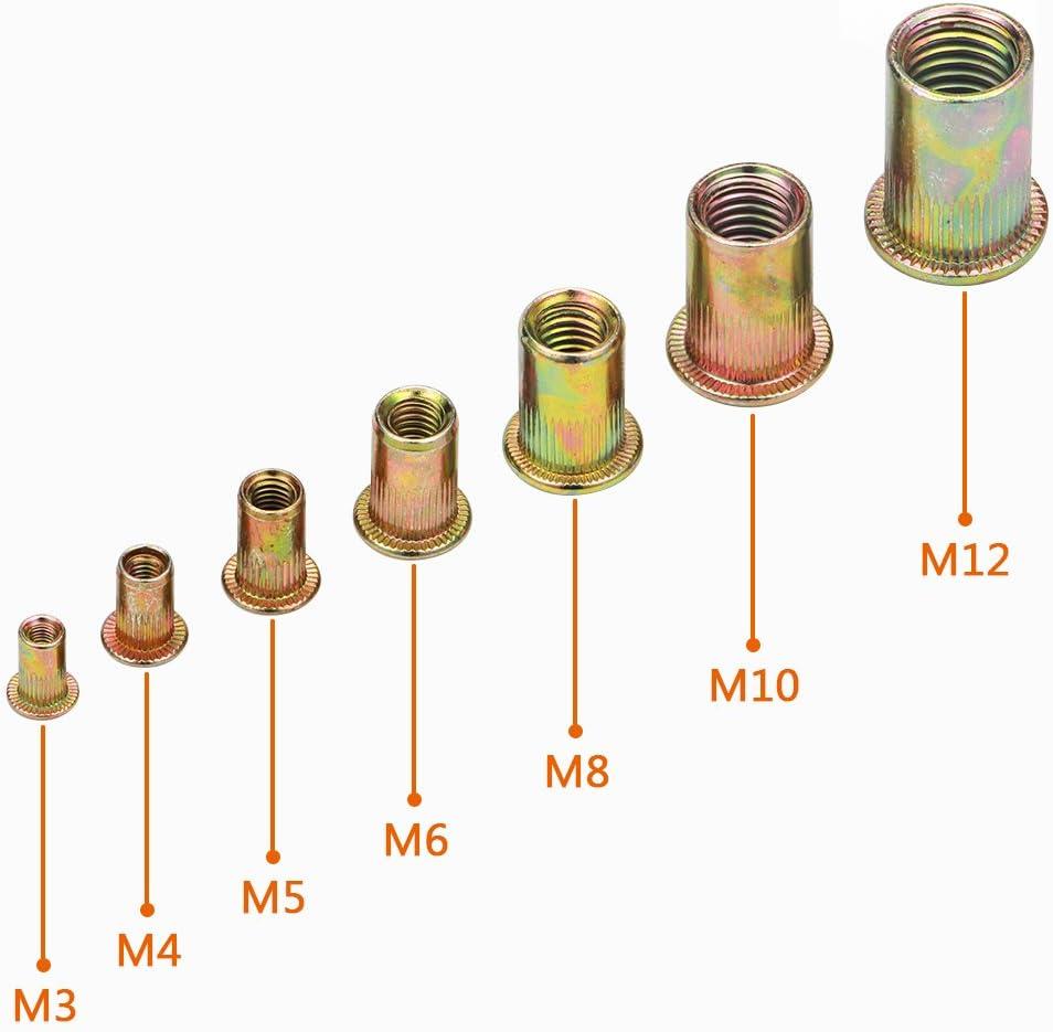 Rivet Nut Kit 1 Rivet Nut LOKMAN 175PCS Metric Rivet Nut Kit Carbon Steel Flat Head Threaded Insert Nut Assorted in M3 M4 M5 M6 M8 M10 M12 Knurled Body