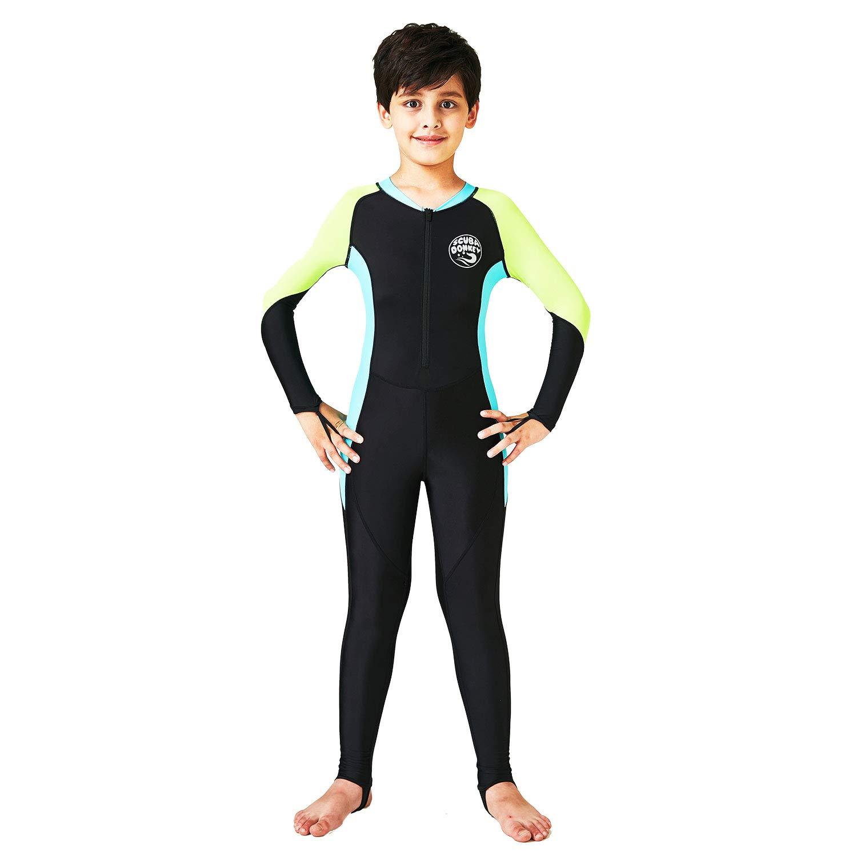 0.5 mm ライクラ フルボディ クイックドライ 子供用ウェットスーツ | UPF 50+ UV保護 | スキューバダイビング サーフィン 釣り カヤック 水泳用 B07GMRP7QH Black/Sky Blue 6 6|Black/Sky Blue