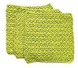Handmade Crochet Lime Green Washcloths Set of 3