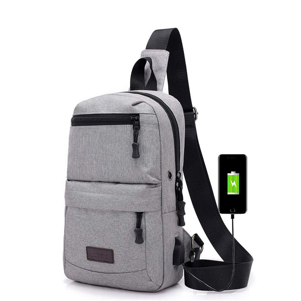 Men Sling Bags Waterproof Messenger Bag Casual Shoulder Bags Crossbody Travel Daypack Men Chest Pack Gray