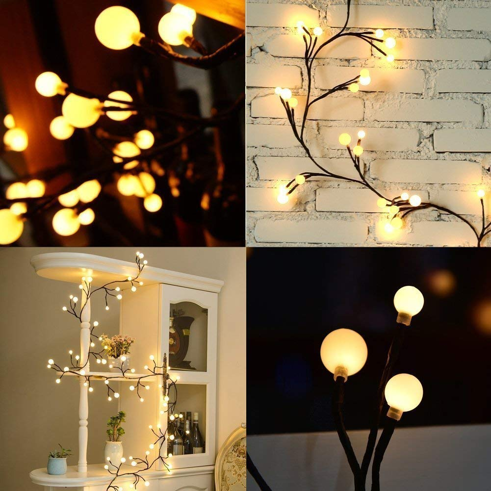 ilikable Valentines Day Decoration Light 8.2ft Fairy Globe String Light 72 Bulbs IP44 Waterproof LED Festival Light Wedding Christmas Indoor Outdoor Patio, 8 Lighting Modes - Warm White