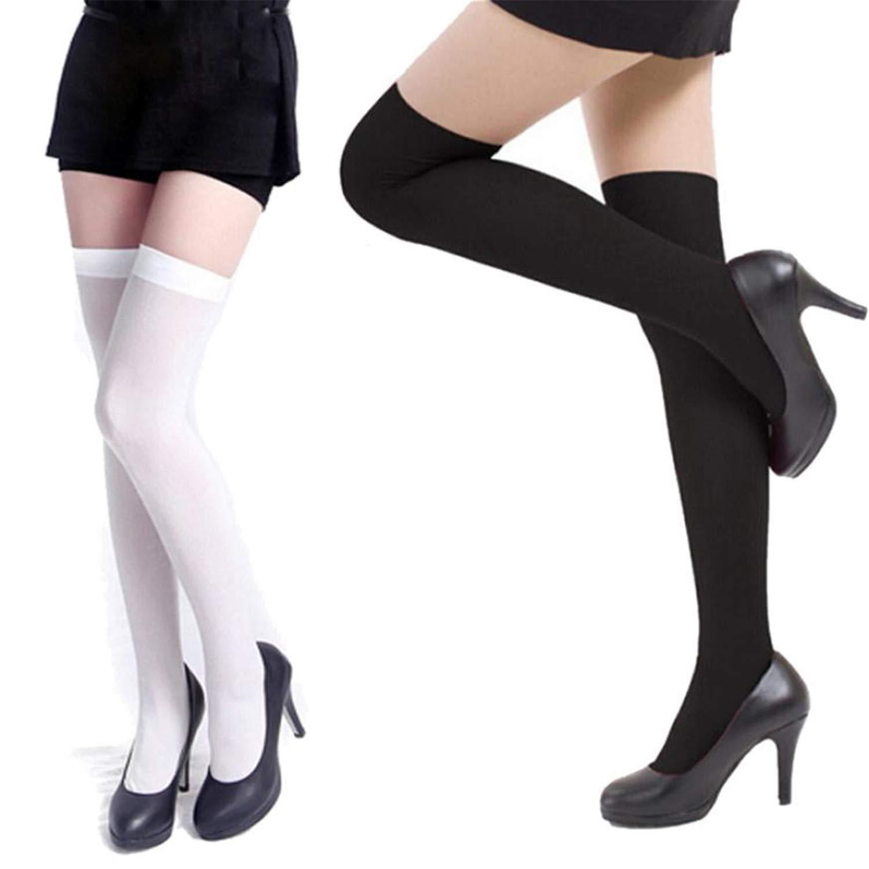 Women Stockings Girl Velvet High Stocking Over Knee Stretch Nylon Girl Long  Sexy Elasticity Hosiery Tights 42Cm Black at Amazon Women's Clothing store: