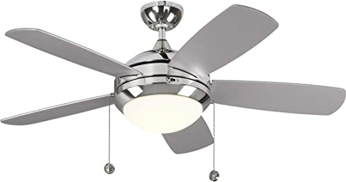 Monte Carlo 5DIC44PND-V1 Discus Classic II 44 Ceiling Fan with LED Light and Pull Chain, 5 Blades, Polished Nickel