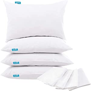 Biloban 4 Pack Pillow Protectors Queen Size 100% Waterproof Pillow Protector Zippered Pillow Covers Noiseless Breathable