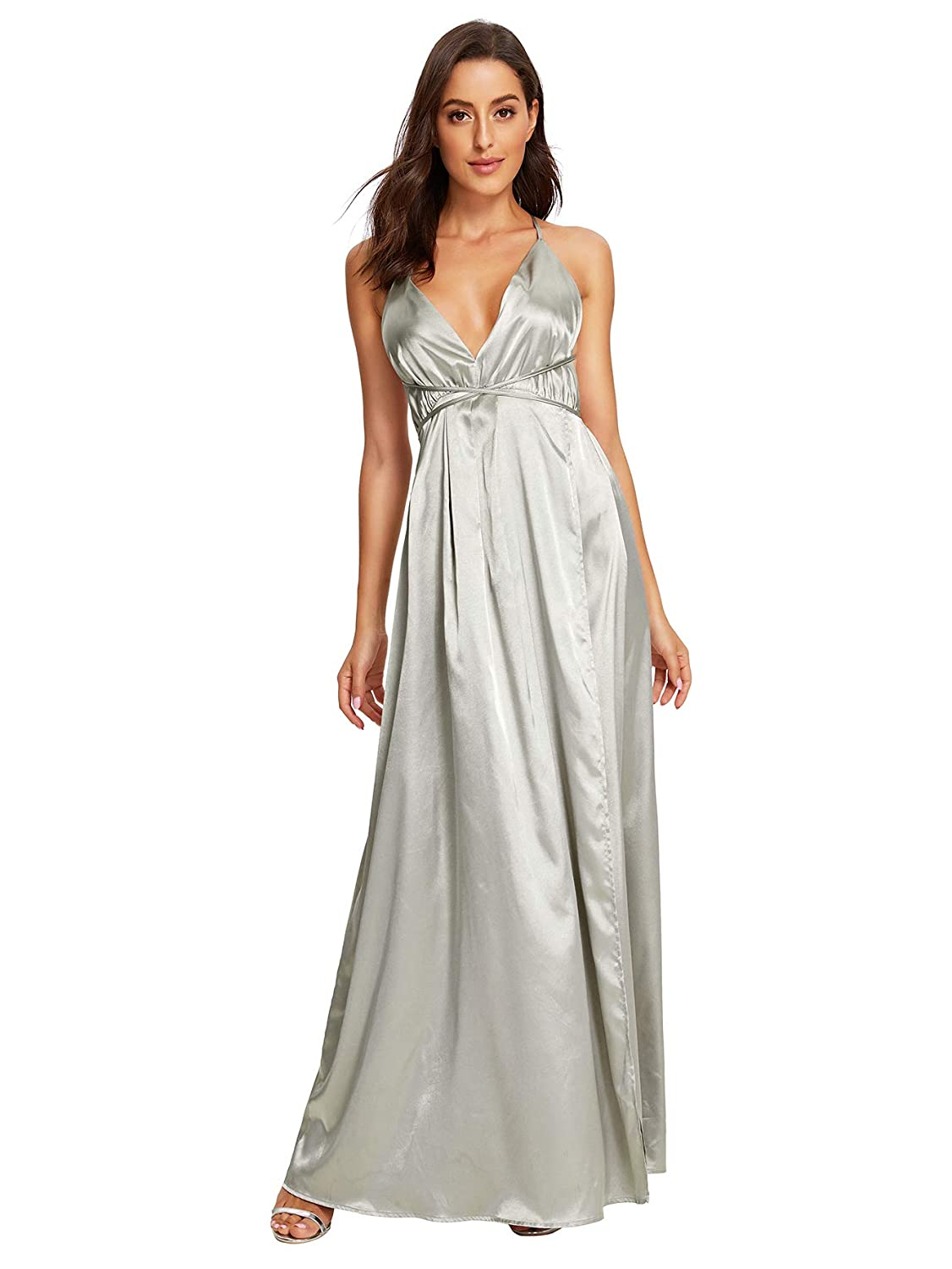 cb194e8897 SheIn Women's Sexy Satin Deep V Neck Backless Maxi Party Evening Dress at  Amazon Women's Clothing store:
