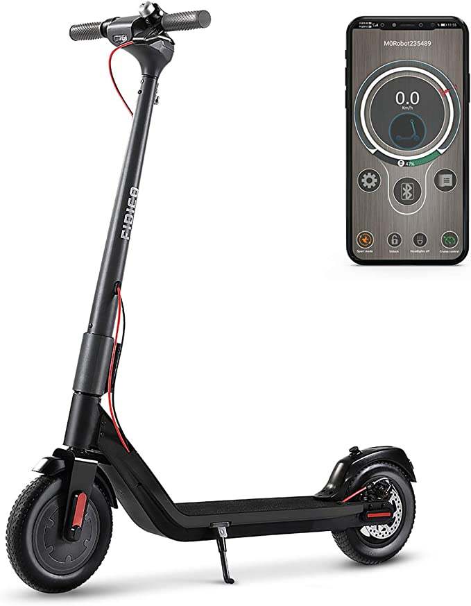 FIDICO Electric Scooter, Foldable Electric Scooter for Adults, 350W Motor, 2 Gears, Max Speed 18.6MPH, Solid Tires One-Step Fold for Commute and Travel