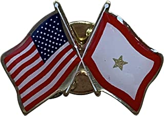 product image for Gettysburg Flag Works Gold Service Star & U.S. Crossed Flags Double Waving Lapel Pin - Proudly Made in The USA