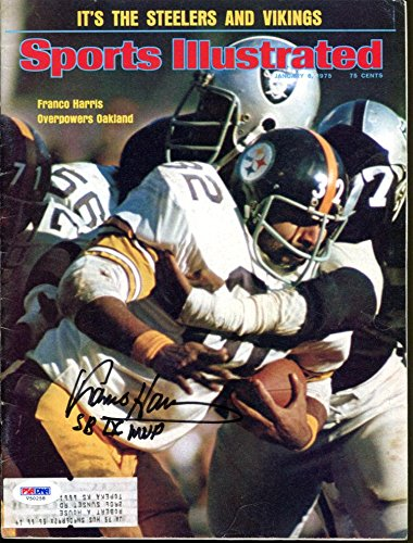 Franco Harris Signed Sports Illustrated 1975 Autographed Steelers V50258 - PSA/DNA Certified - Autographed NFL Magazines Sports Memorabilia
