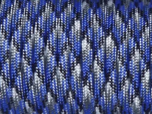 FeeJoo 7 Strand Core 550lb Paracord Parachute Cord Lanyard Mil Spec Type III-100ft (Blue Camo(35#)) -