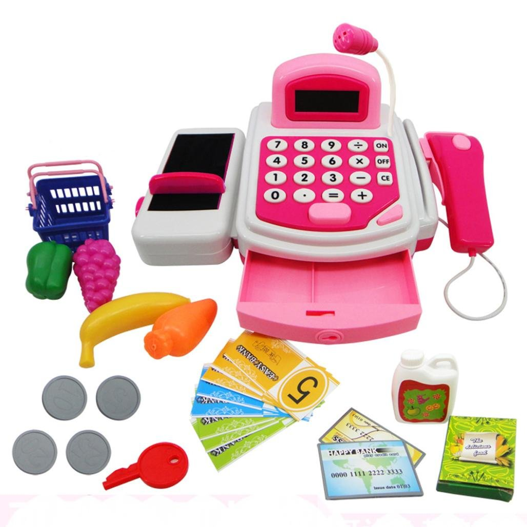 FAPIZI ☀ Toy ☀ Pretend Play Electronic Cash Register Toy Realistic Actions & Sounds With Mic (Pink) by FAPIZI (Image #1)