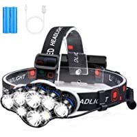 Headlamp, High Lumens Brightest 8 LED Headlight Flashlight with White Red Lights, USB Rechargeable Waterproof Head Lamp…