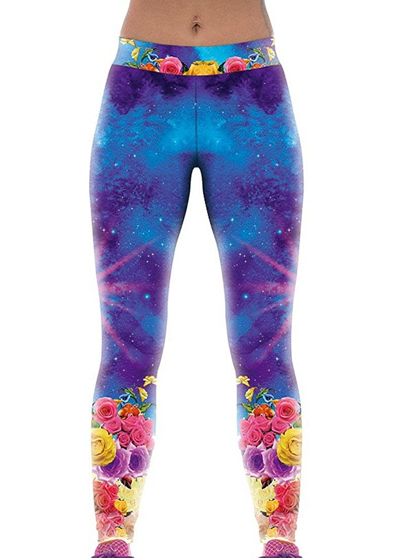 c4873343af796 Amazon.com: RedBeana Women Galaxy & Floral Print Workout Yoga Leggings  Tight Pants Multi Color One size: Clothing