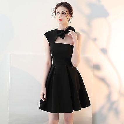 Vestido de noche Banquete Mujer Verano Fiesta De Cumpleaños Negro Párrafo Corto Tipo De Un Solo