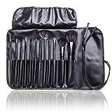 12 Pcs Studio Pro Makeup Make up Cosmetic Brush Set Kit w/ Leather Case - For Eye Shadow, Blush, Concealer, Etc (Black)