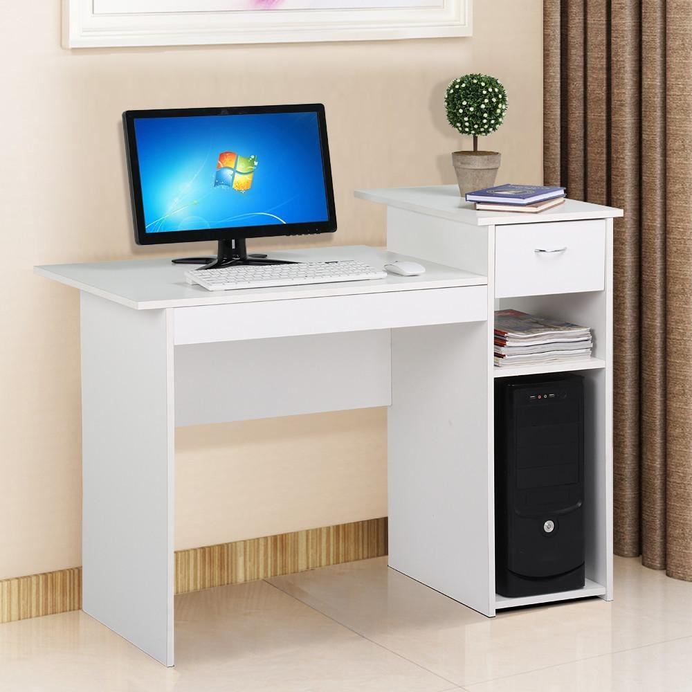 go2buy Modern Home Office Small Wood Computer Desk with Drawers and 2 Tiers Storage Shelves Workstation Furniture