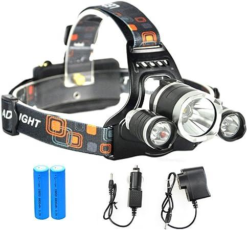 LED Linterna frontal,MianBaoShu impermeable LED Cabeza lámpara(Incluye 2*18650 akku),3 x PE lámpara Faros T6 faros para lectura nocturna, camping, ...