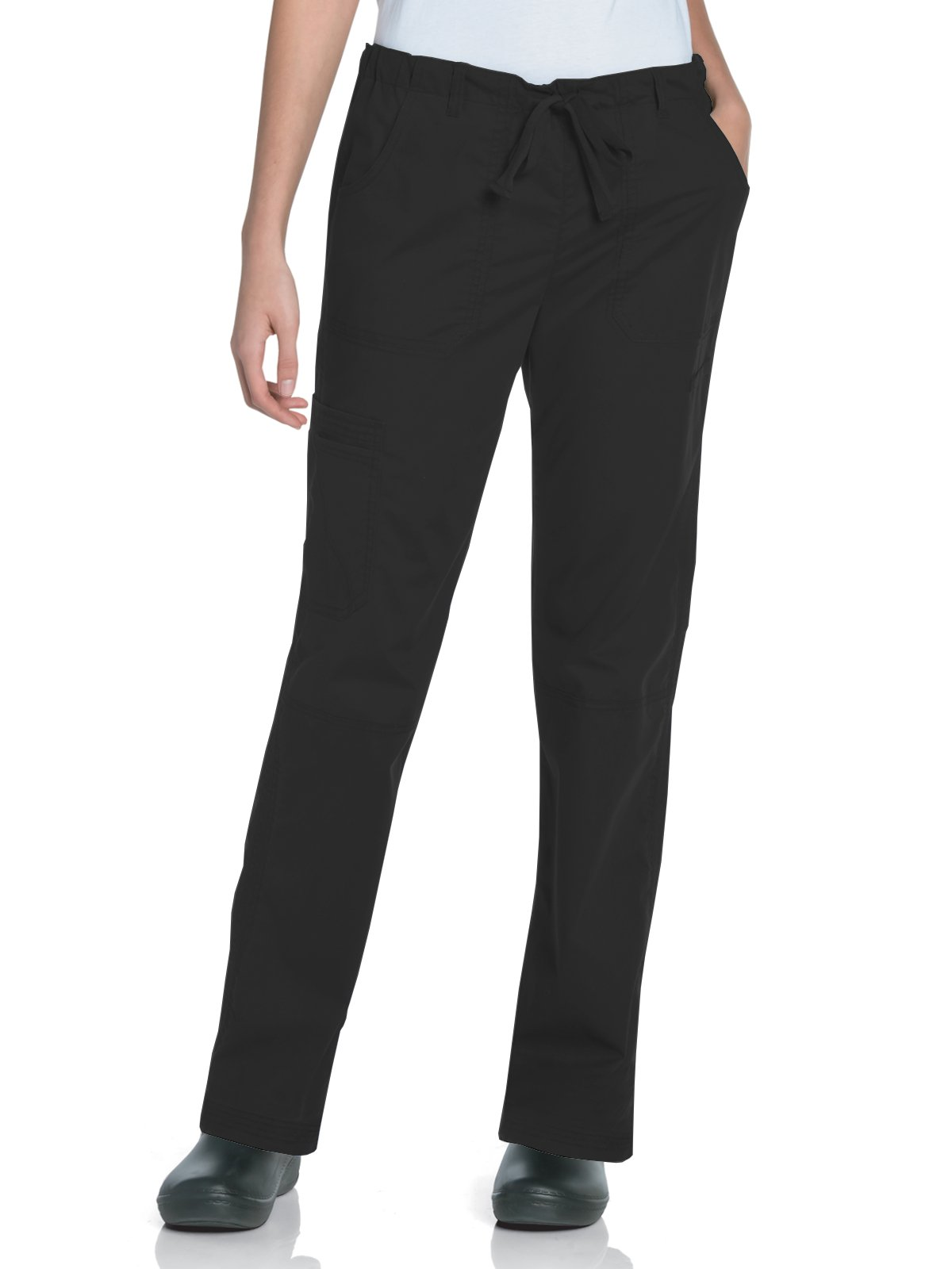 Landau Women's Pre-Washed Cargo Scrub Pant, Black, Medium