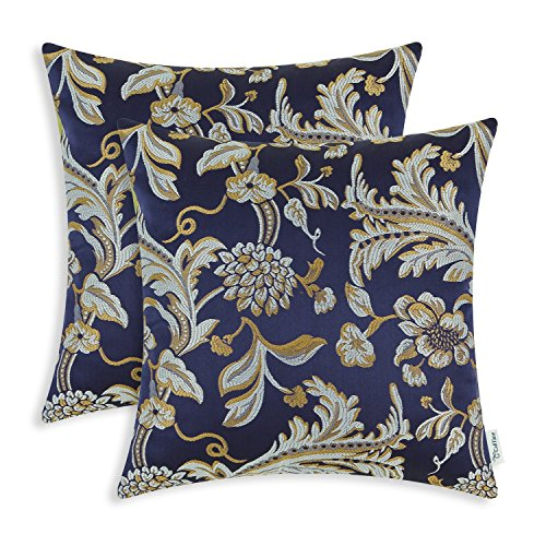 Pack of 2 CaliTime Throw Pillow Covers Cases for Couch Sofa Home Decor, Vintage Floral Leaves, 18 X 18 Inches, Navy Blue
