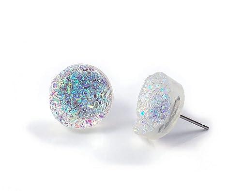 Rainbow Shape Teal Glittery Handmade Resin Earrings
