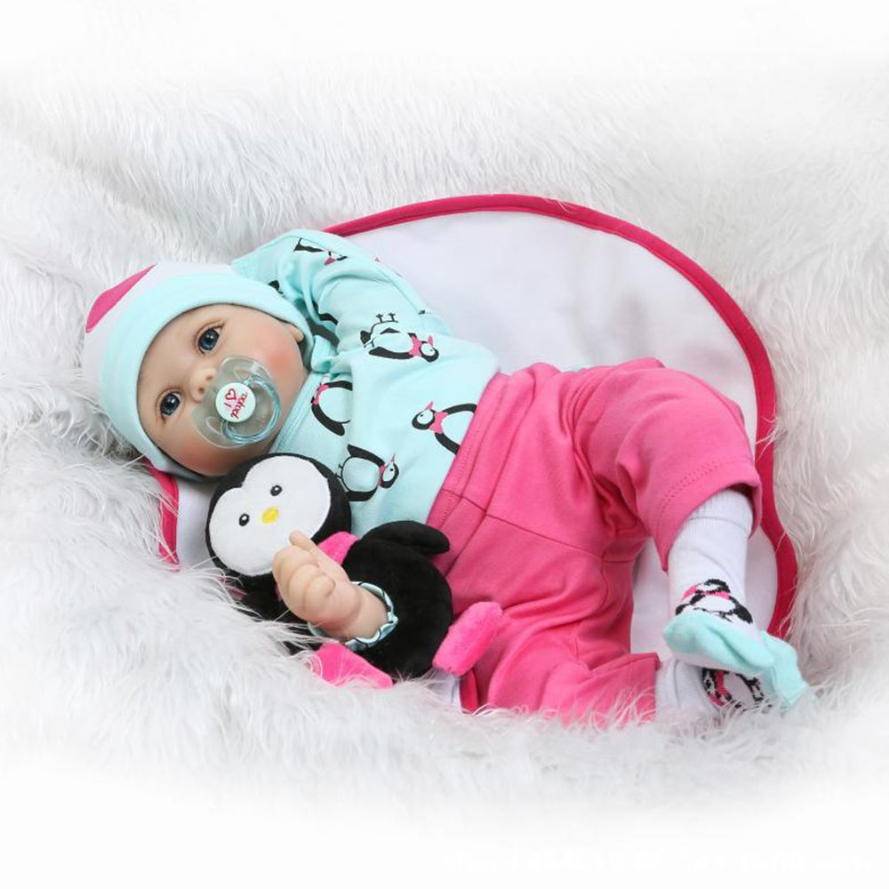 Seedollia Real Life Reborn Baby Doll Girl Cotton Body Lovely Newborn Toy Blue Eyes Green and Pink Outfit 22 inch with Cute Toy Penguin
