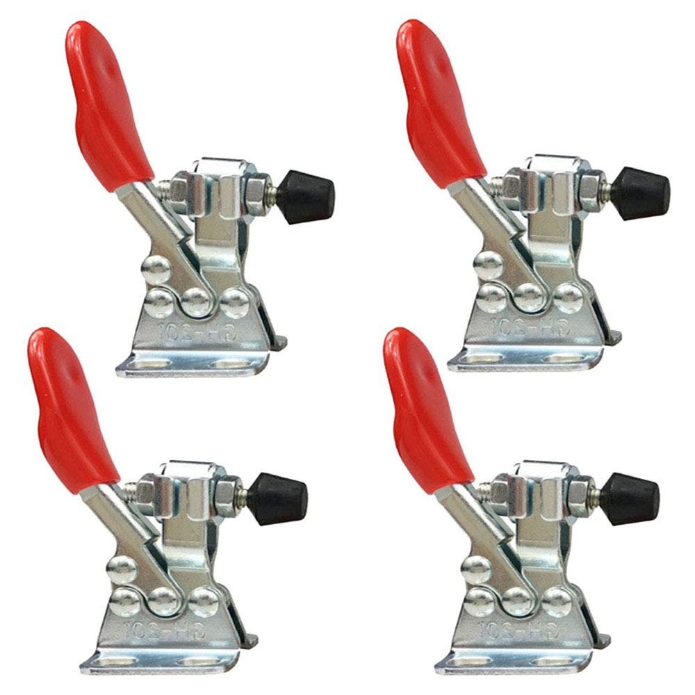 Toggle Clamp, 4 Pieces 201 Small Horizontal Tensioner Holding Force Tension Lever Antislip Clamps Hand Tools, Vertical Quick Clamp Horizontal Toggle Clamp with Red Handle vientiane